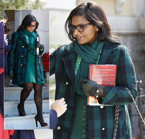 Mindy Kalings green check coat from Modcloth
