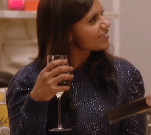 Mindy Kaling's blue glitter sweater on Thanksgiving ep of The Mindy Project