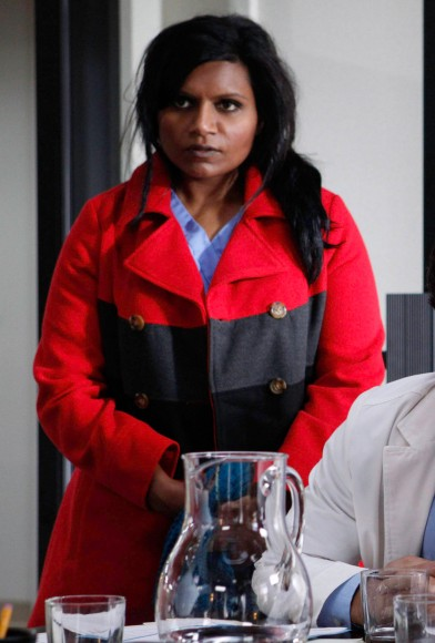Mindy Kaling's red and grey color blocked coat on The Mindy Project