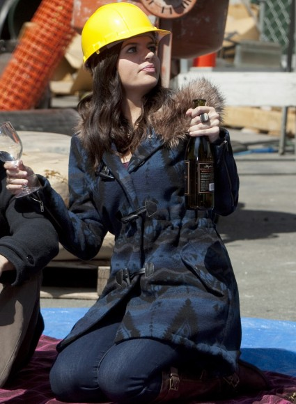 Pennys blue fur hooded coat on Happy Endings
