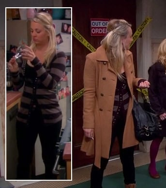 Penny's striped cardigan and double breasted coat on The Big Bang Theory