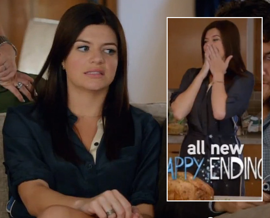 Penny's navy blue shirt dress on Happy Endings Thanksgiving Episode