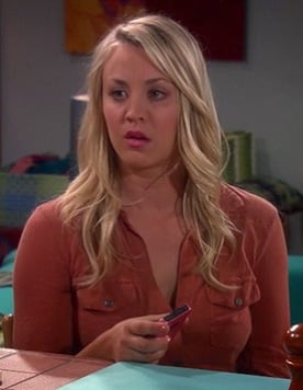 Penny's orange utility shirt on The Big Bang Theory