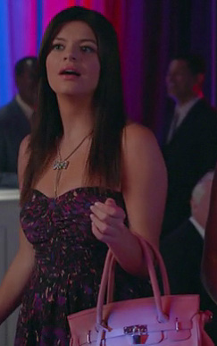 Penny's purple patterned strapless dress and pink handbag on Happy Endings