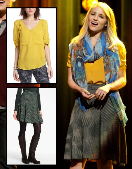 Quinn's yellow Anthropologie top on Glee