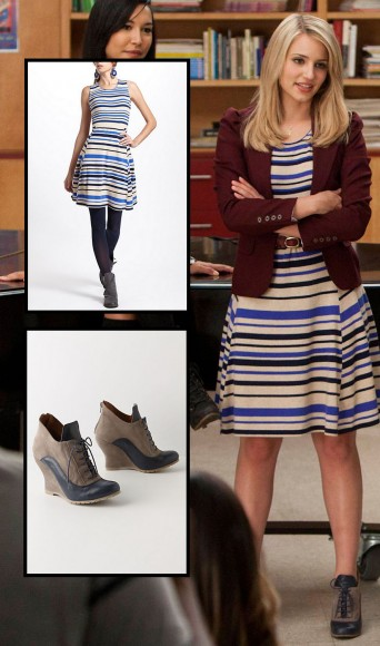 Quinn's blue and white stripey dress on Glee season 4