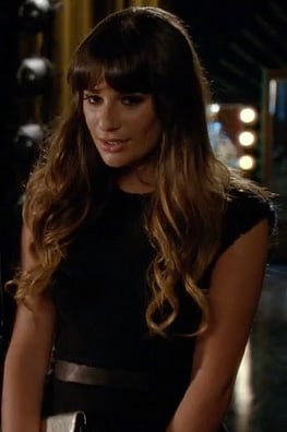 Lea Michele's black peplum top on Glee