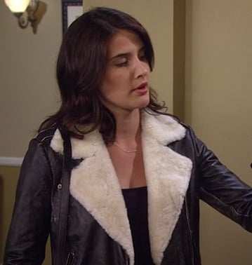 Robin's black leather shearling jacket on How I Met Your Mother