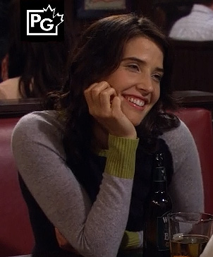 Robin's grey, green and navy colorblock sweater on How I Met Your Mother