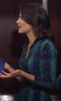 Robin's blue/green turquoise snake dress on HIMYM season 8