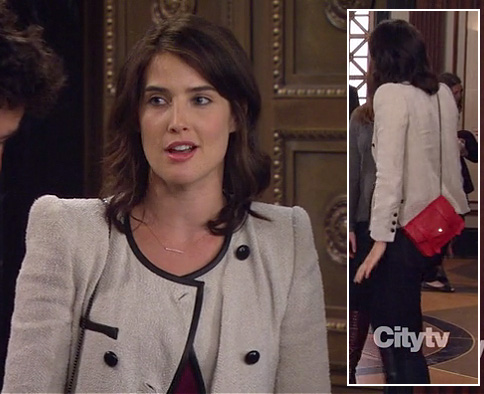 Robin's jacket with black trim and small red messenger bag on HIMYM