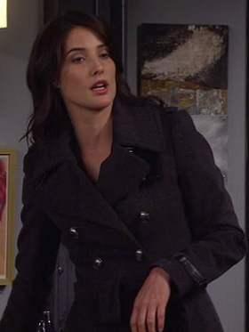 Robin's dark grey coat with leather detail on How I Met Your Mother