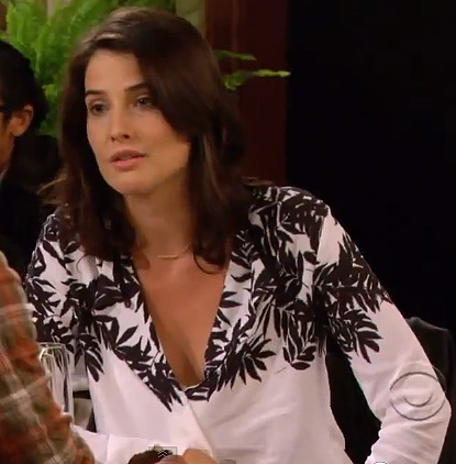 Robin's white shirt with black bamboo leaves on How I Met Your Mother