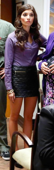 Shauna's black leather skirt with zips on The Mindy Project