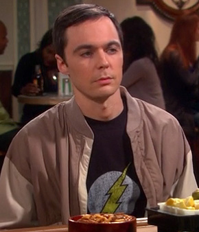 Sheldon's black flash shirt on Big Bang Theory season 6