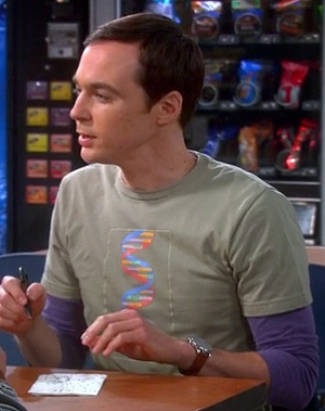 Sheldon's green DNA shirt on The Big Bang Theory