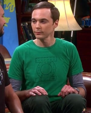 Sheldon's green lantern tshirt on The Big Bang Theory