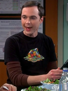 Sheldon's melting rubiks cube shirt on The Big Bang Theory