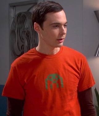 Sheldon's orange shirt with green space invader on The Big Bang Theory