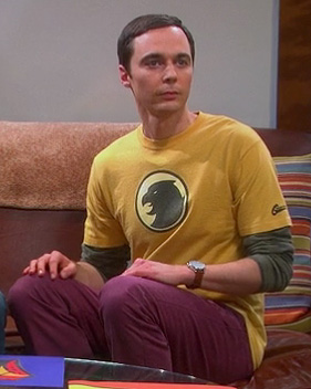 Sheldon's yellow Hawkman shirt on The Big Bang Theory