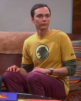 Sheldon's yellow Hawk man tshirt on Big Bang Theory season 6