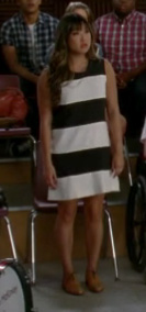 Tina's black and white shift dress on Glee's Glease episode