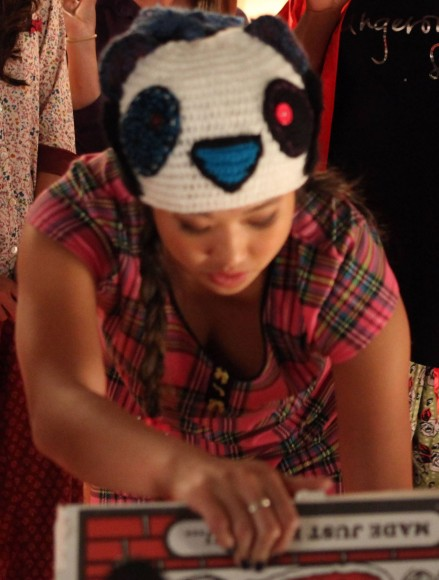 Tina's panda hat on Glee Grease episode