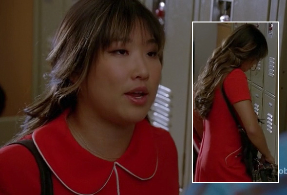 Tina's red and white collared shift dress on Glee season 4