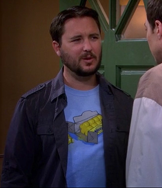 Wil Wheaton's blue jinx shirt on The Big Bang Theory