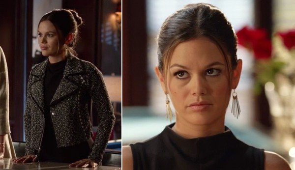 Zoe's black high neck dress with grey blazer and gold earrings on Hart of Dixie