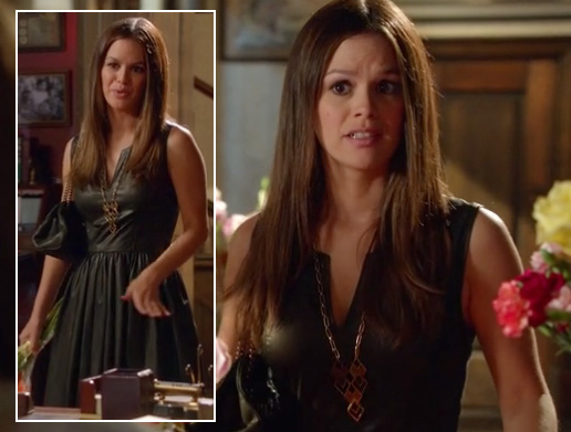 Zoe's black leather pleated dress on Hart of Dixie