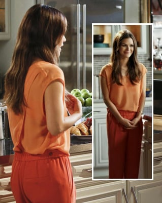 Rachel Bilsons orange top with back crossover on Hart of Dixie