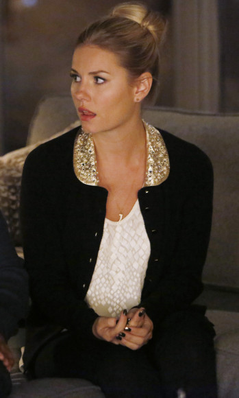 Alex's black cardigan with gold collar on Christmas ep of Happy Endings