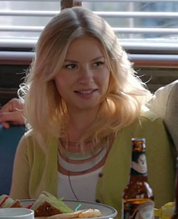 Alex's lime green cardigan and gold/white necklace on Happy Endings