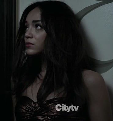 Ashleys metallic strapless dress on Revenge