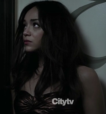 Ashley's bronze strapless mini dress on Revenge