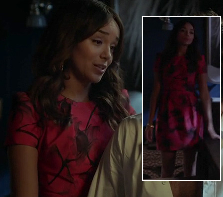 Ashley's pink and black print dress on Revenge