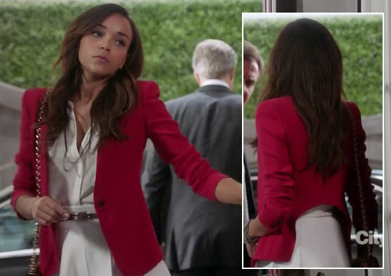 Ashley's red blazer with back cutout and white blouse and skirt on Revenge