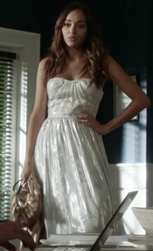 Ashley's strapless silver gown on Revenge