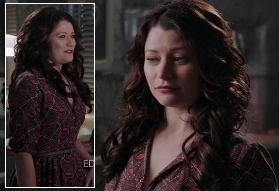 Belle's burgundy shirtdress on Once Upon A Time