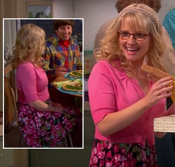 Bernadette's pink cropped cardigan and floral dress