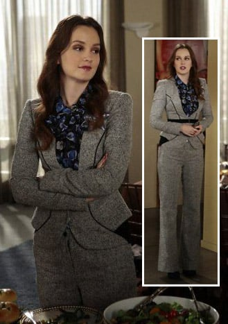 Blair's grey pant suit and blue floral blouse on Gossip Girl