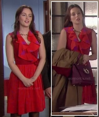 Blair's red dress with pink stars on Gossip Girl