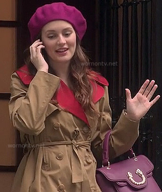 Blair's beige and red contrast trenchcoat and pink beret on Gossip Girl