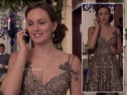 Blair's brown sequin dress with bows on Gossip Girl
