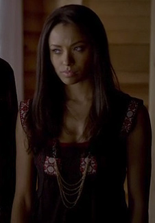 Bonnie's black embroidered top on The Vampire Diaries