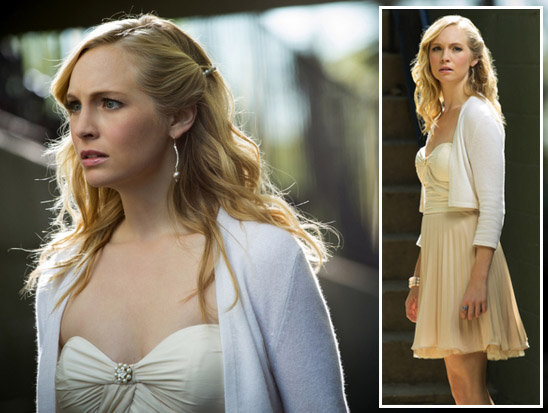 Caroline's cream sweetheart dress with white cardigan on Vampire Diaries
