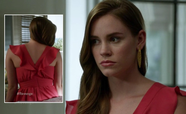 Charlottes red wrap dress with ruffles on Revenge