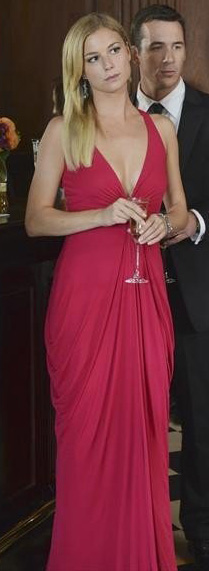 Emily's red v-neck dress on Revenge