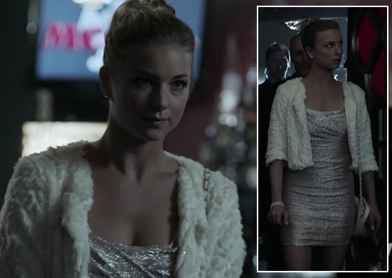 Emily's silver glittery mini dress and white furry jacket on Revenge